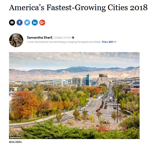 Forbes Article - America's Fastest Growing Cities 2018