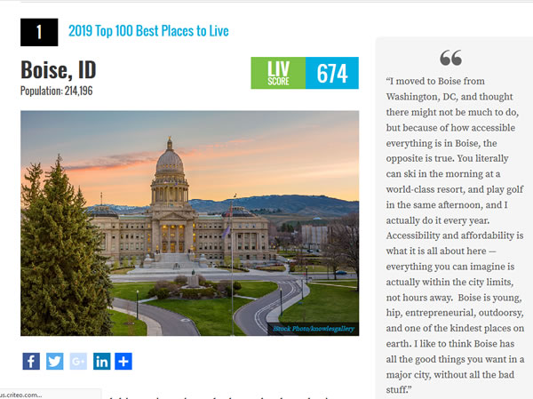 Boise listed #1 - 2019 Top Best Places to Live